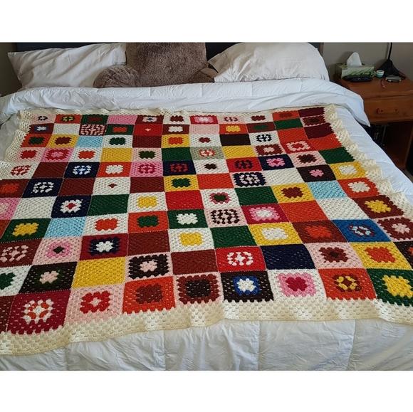 Vintage crochet granny square blanket